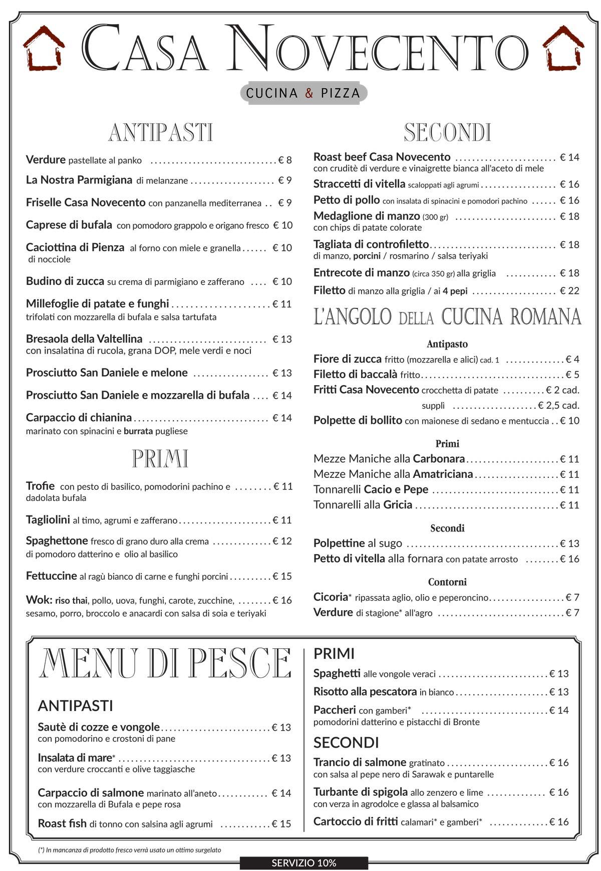 menu casa 900 estate 2020